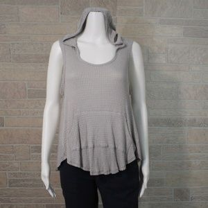 Sweet Claire Raw Edge High Low Pocket Hooded Shirt